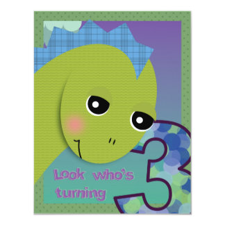 "Lil' Dino Invitation - 3rd Birthday 4.25"" X 5.5"" Invitation Card"