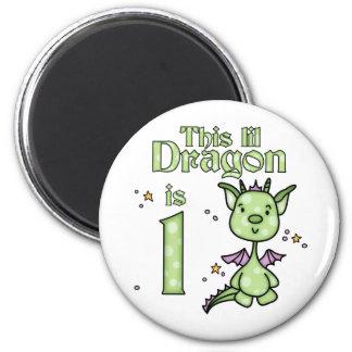 Lil Dragon 1st Birthday 2 Inch Round Magnet