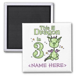 Lil Dragon 3rd Birthday 2 Inch Square Magnet