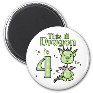 Lil Dragon 4th Birthday 2 Inch Round Magnet