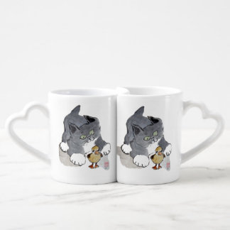Lil' Ducky and Gray Kitten Coffee Mug Set