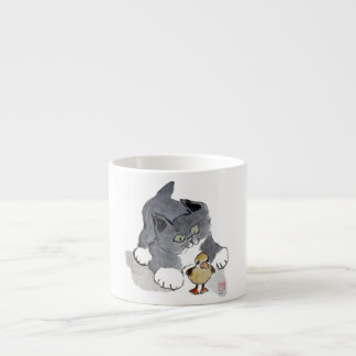 Lil' Ducky and Gray Kitten Espresso Cup