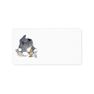 Lil Ducky and Gray Kitten Address Label