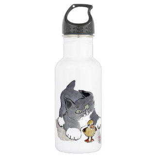 Lil' Ducky and Gray Kitten Stainless Steel Water Bottle
