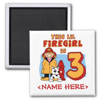 Lil Firegirl 3rd Birthday 2 Inch Square Magnet