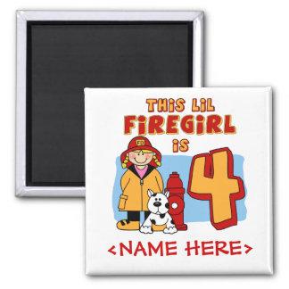 Lil Firegirl 4th Birthday 2 Inch Square Magnet