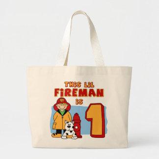 Lil Fireman 1st Birthday Canvas Bags