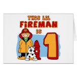 Lil Fireman 1st Birthday Card