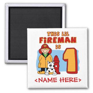 Lil Fireman 1st Birthday Refrigerator Magnets