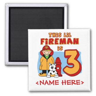 Lil Fireman 3rd Birthday 2 Inch Square Magnet