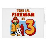 Lil Fireman 3rd Birthday Stationery Note Card