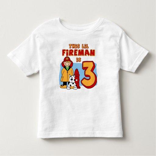 Lil Fireman 3rd Birthday T Shirt