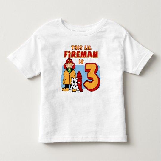 Lil Fireman 3rd Birthday Toddler T-shirt