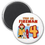 Lil Fireman 4th Birthday Fridge Magnets