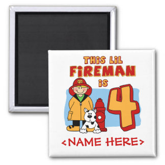 Lil Fireman 4th Birthday 2 Inch Square Magnet