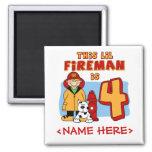 Lil Fireman 4th Birthday Refrigerator Magnets