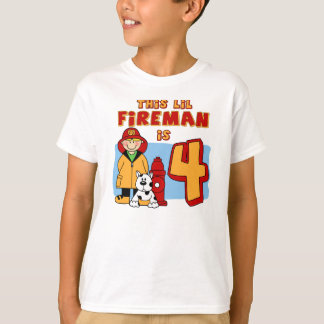 Lil Fireman 4th Birthday T-Shirt
