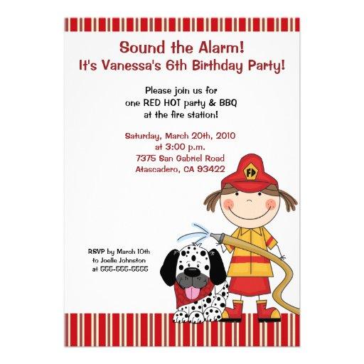 Lil Firetruck 5 x 7 Fire Fighter Birthday Invite