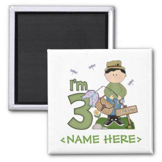 Lil Fisherman 3rd Birthday 2 Inch Square Magnet