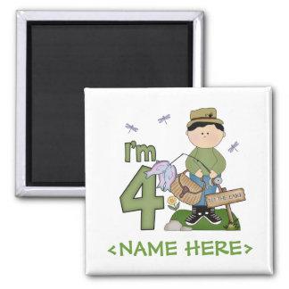 Lil Fisherman 4th Birthday 2 Inch Square Magnet