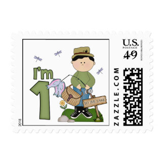Lil Fishingman 1st Birthday Postage Stamps