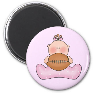 Lil Football Baby Girl 2 Inch Round Magnet