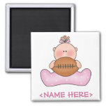 Lil Football Baby Girl 2 Inch Square Magnet