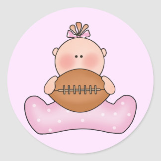 Lil Football Baby Girl Round Stickers