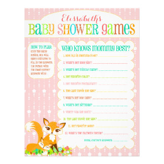 """Lil Foxie Cub - """"Baby Shower Games"""" Activity Sheet Flyer Design"""