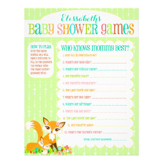 """Lil Foxie Cub - """"Baby Shower Games"""" Activity Sheet Full Color Flyer"""