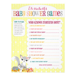 """Lil Foxie Cub - """"Baby Shower Games"""" Activity Sheet Flyer"""
