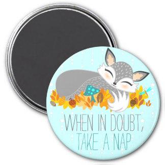 Lil Foxie Cub - cuando en duda, toma una siesta Imán Redondo 7 Cm