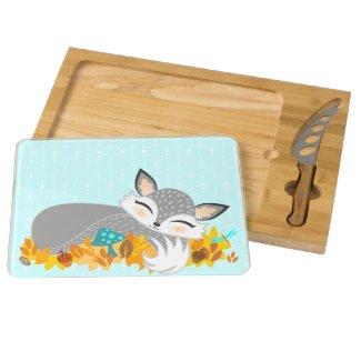 Lil Foxie Cub - Cute Baby Fox Cheese Board Rectangular Cheese Board