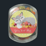 "Lil Foxie Cub - Cute Custom Fox Candy Jar<br><div class=""desc"">Edit this adorable sleeping fox cub design with any text you&#39;d like -- great personalized party favor for a Baby Shower,  Birthday Party and so much more! Click CUSTOMIZE to change background color,  text color and font</div>"