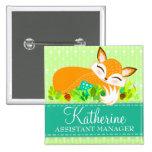 Lil Foxie Cub - Cute Custom Name Badge Button