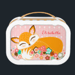"""Lil Foxie Cub - Cute Custom Sleepy Fox Lunchbox<br><div class=""""desc"""">Edit this fun and fabulous fox cub design with any name for a perfectly personalized lunch box like no other! {{Click CUSTOMIZE to change background color,  text color or font}} (C) Melanie Taylor ~~ CreativeMel.com</div>"""