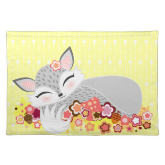 Lil Foxie Cub - Cute Sleepy Fox Placemat Cloth Place Mat
