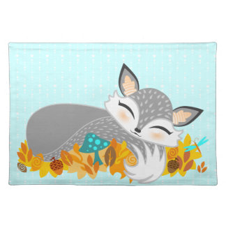 Lil Foxie Cub - Cute Sleepy Fox Placemat Cloth Placemat