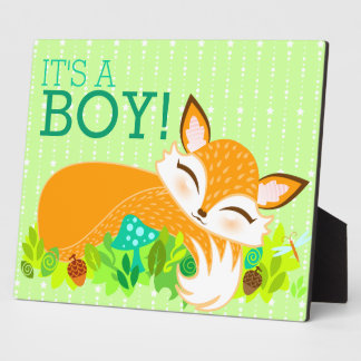 Lil Foxie Cub - It's A Boy! Baby Shower Sign Plaque