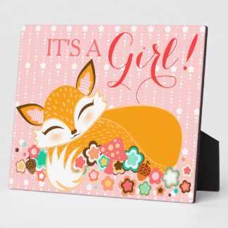 Lil Foxie Cub - It's A Girl! Baby Shower Sign Plaque