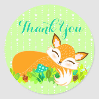 "Lil Foxie Cub - lindo ""gracias"" los pegatinas Pegatina Redonda"