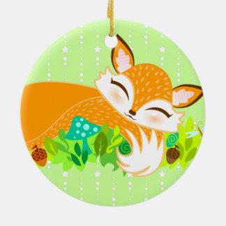 Lil Foxie Cub - ornamento de encargo lindo del Adorno Navideño Redondo De Cerámica