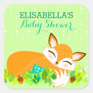 Lil Foxie Cub - pegatinas lindos del personalizado Pegatina Cuadrada