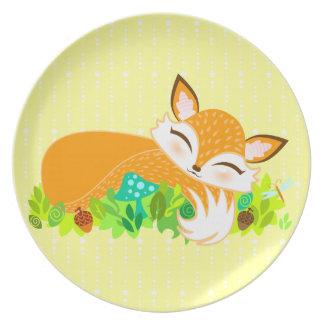 Lil Foxie Cub - placa de cena soñolienta linda del Plato