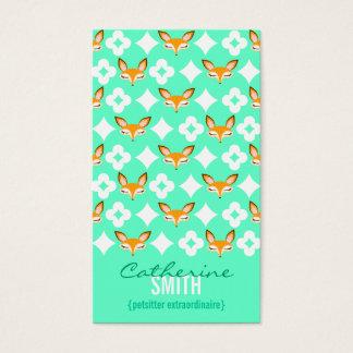 Lil Foxie - Cute Fox Pattern Vertical Bizcards Business Card