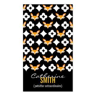Lil Foxie - Cute Fox Pattern Vertical Bizcards Business Cards