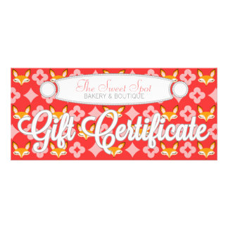 Lil Foxie - Cute Girly Fox Custom Gift Certificate Personalized Rack Card