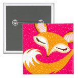 Lil Foxie - Cute Sleepy Fox Button Pin