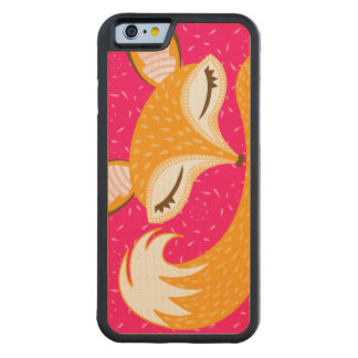 Lil Foxie - Cute Sleepy Fox Wood Phone Case