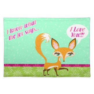 """Lil Foxie - """"sé lo que dice el Fox"""" Placemat Mantel Individual"""